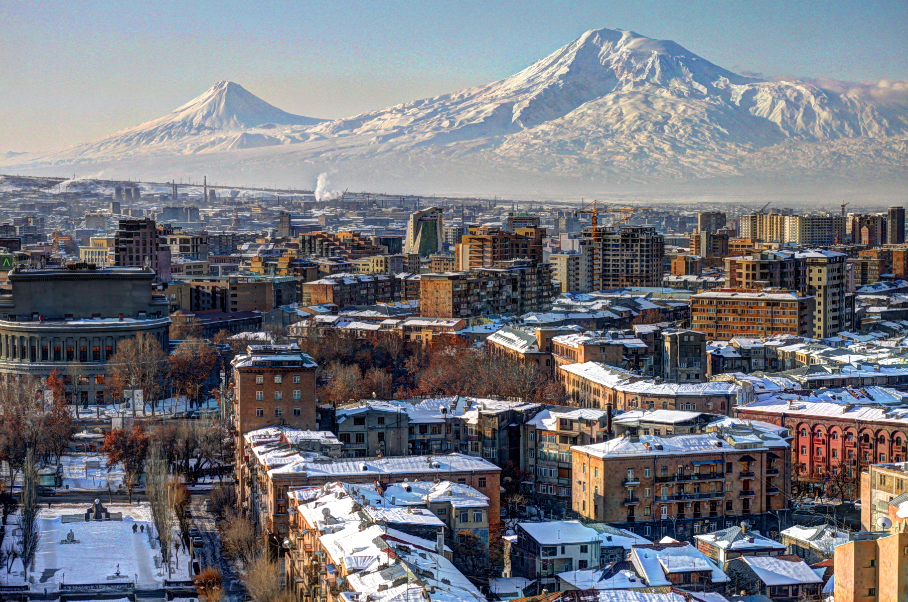 A winter view of Yerevan, Armenia, with the backdrop of Masis (Mount Ararat).
