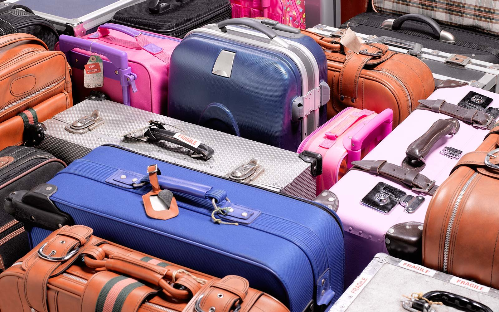 Variaty of suitcases, close up