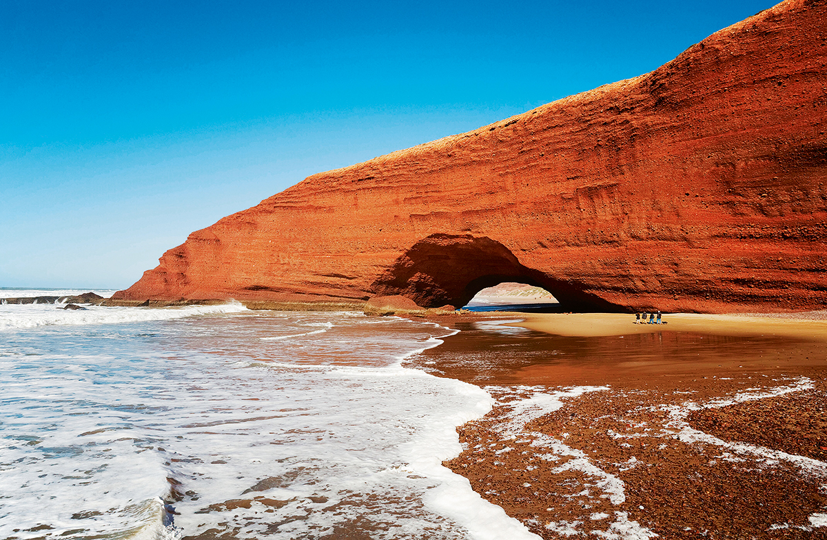 Morocco - Rock arch at the Atlantic Ocean at Legzira beach, 11km